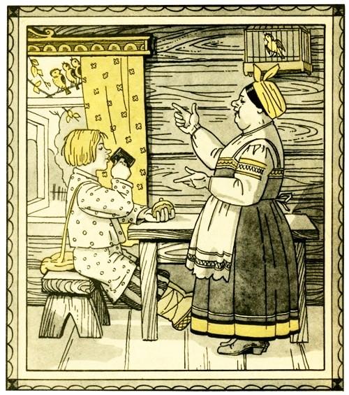 Рисунок - Шиш и трактирщица: Сказки о Шише — русская народная сказка
