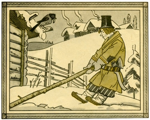 Рисунок - Шиш показывает барину нужду: Сказки о Шише — русская народная сказка